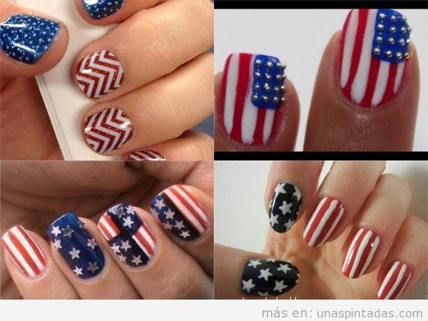 Uñas decoradas con la bandera de EEUU