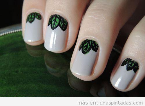 Ideas Nail Art con hojas para otoño 2