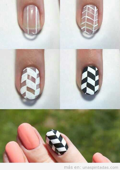 Tutorial diseño uñas Nail Art zigzag efecto 3D