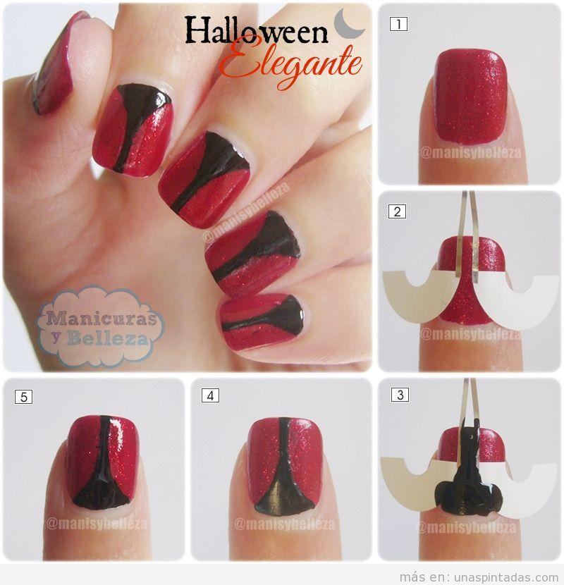 Tutorial manicura elegante para Halloween