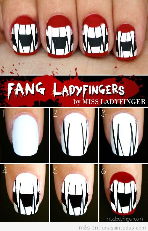 Tutorial Nail Art Halloween, dentadura de vampiro
