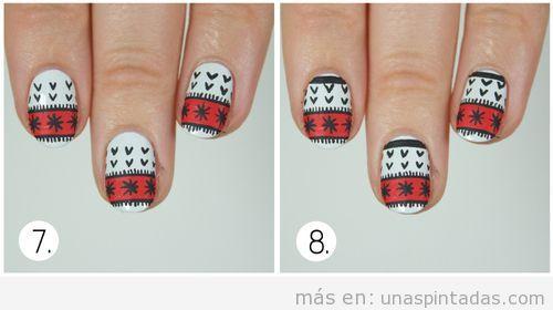 Tutorial diseño uñas estampado jersey Navidad 4