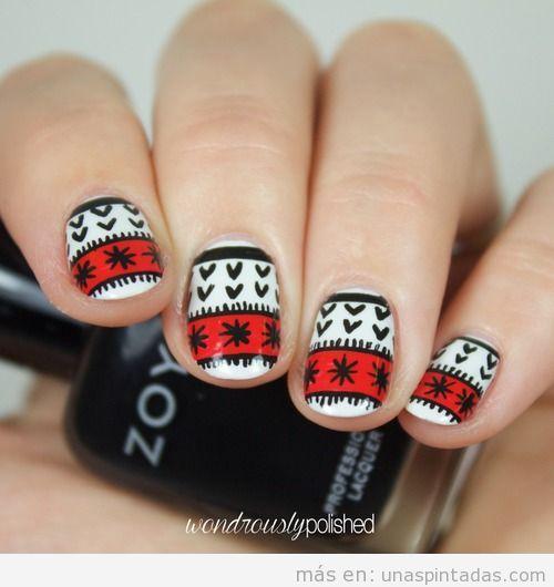Tutorial diseño uñas estampado jersey Navidad