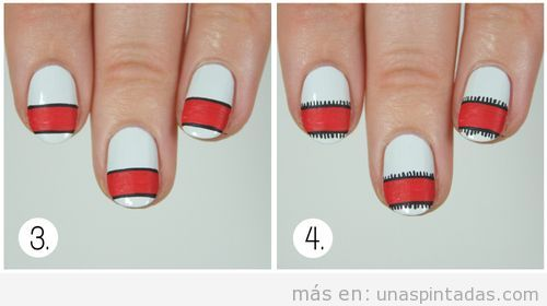 Tutorial diseño uñas estampado jersey Navidad 3