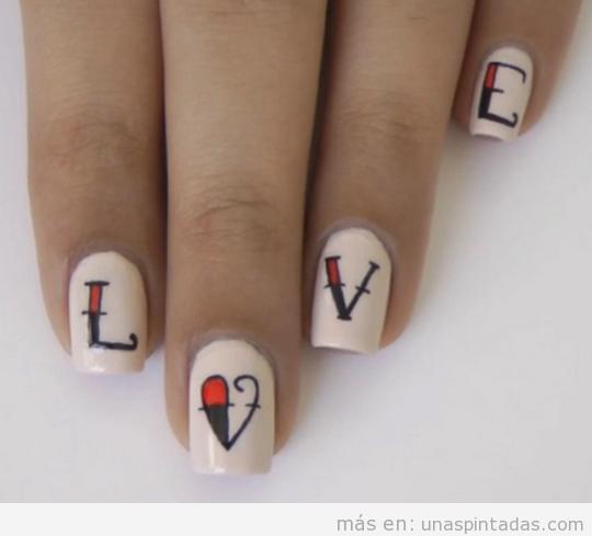 Tutorial pegatinas DIY palabra LOVE Nail Art 2