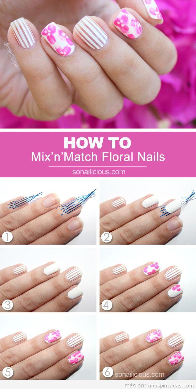 Tutorial para aprender diseño de uñas estampado raya y flores