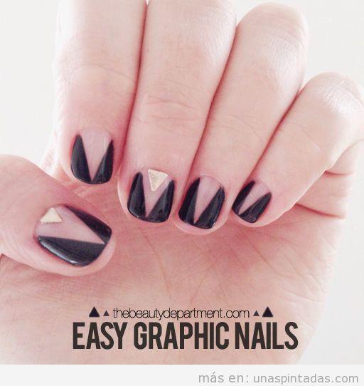 Tutorial diseño uñas triángulo negro
