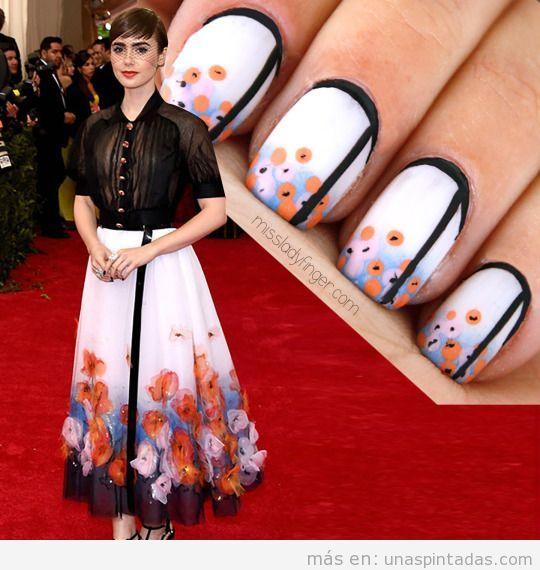 Manicura inspirada vestido Chanel Lily Collins en Gala MET 15