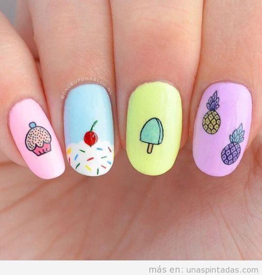 Decoración uñas con dibujos de frutas y helados 2