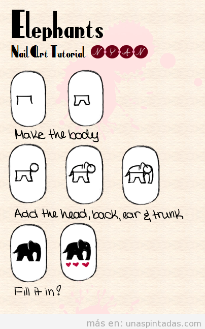 Tutorial para aprender a dibujar un elefante en las uñas