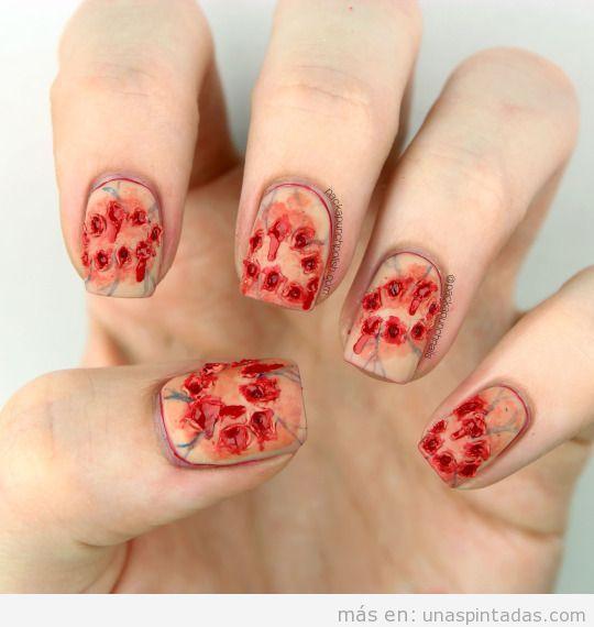 Zombie, decoración de uñas para Halloween