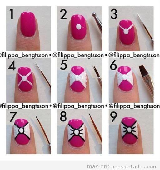 Tutorial para aprender a dibujar un lazo en las uñas