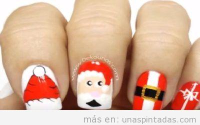 Diseño de uñas de Navidad con dibujos fáciles de Papa Noel