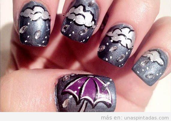 Diseño de uñas de lluvia para esta temporada