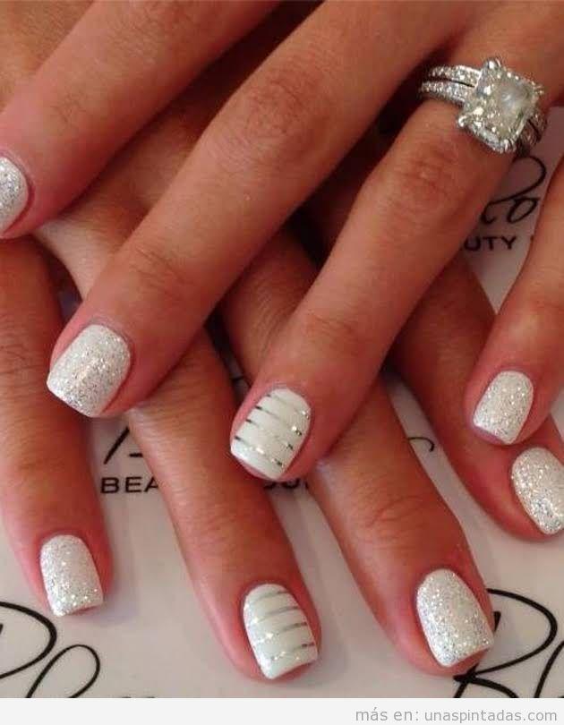 15 Decoraciones de uñas para bodas con purpurina: ¡brillarás como ...