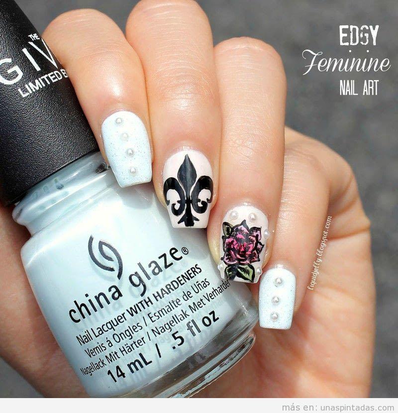 Tutorial dibujar flor de lis en un diseño de uñas