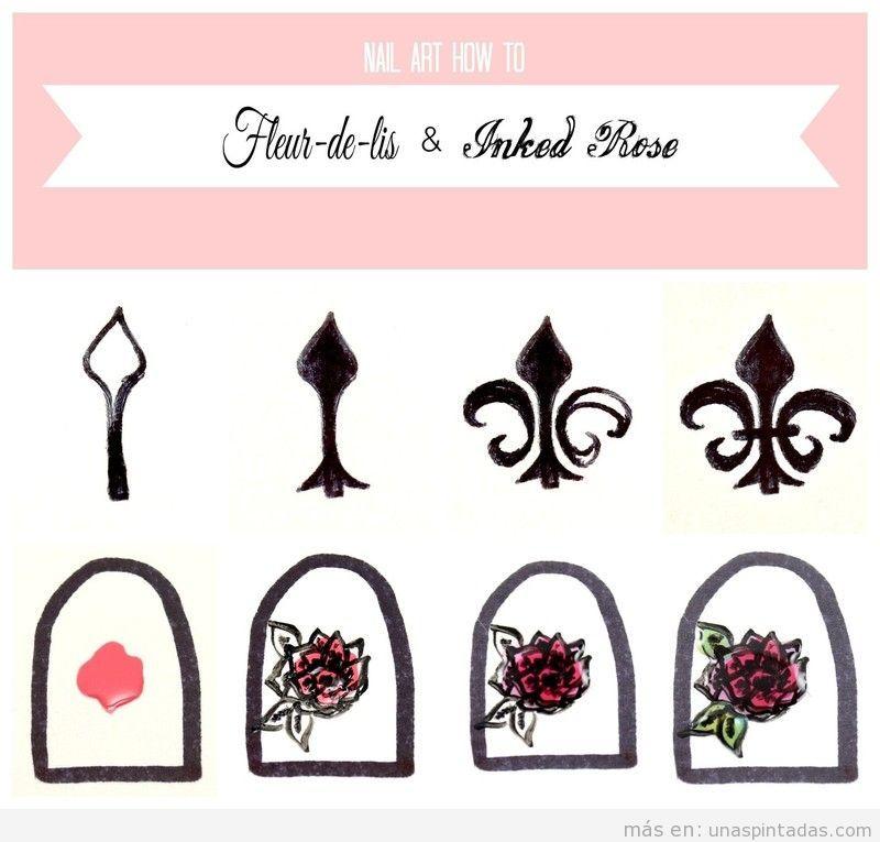 Tutorial dibujar flor de lis en el diseño de uñas