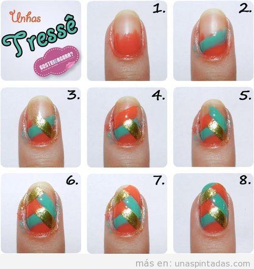 Instrucciones y tips para decoración de uñas estampado trenza