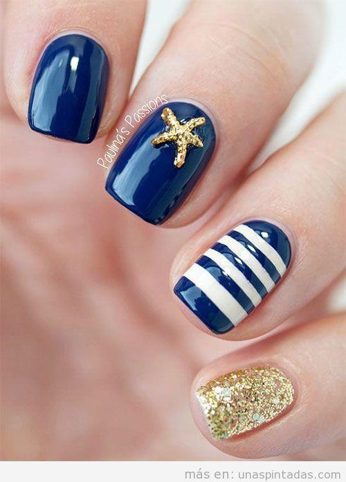 Diseño uñas rayas y estrellas para verano 2016