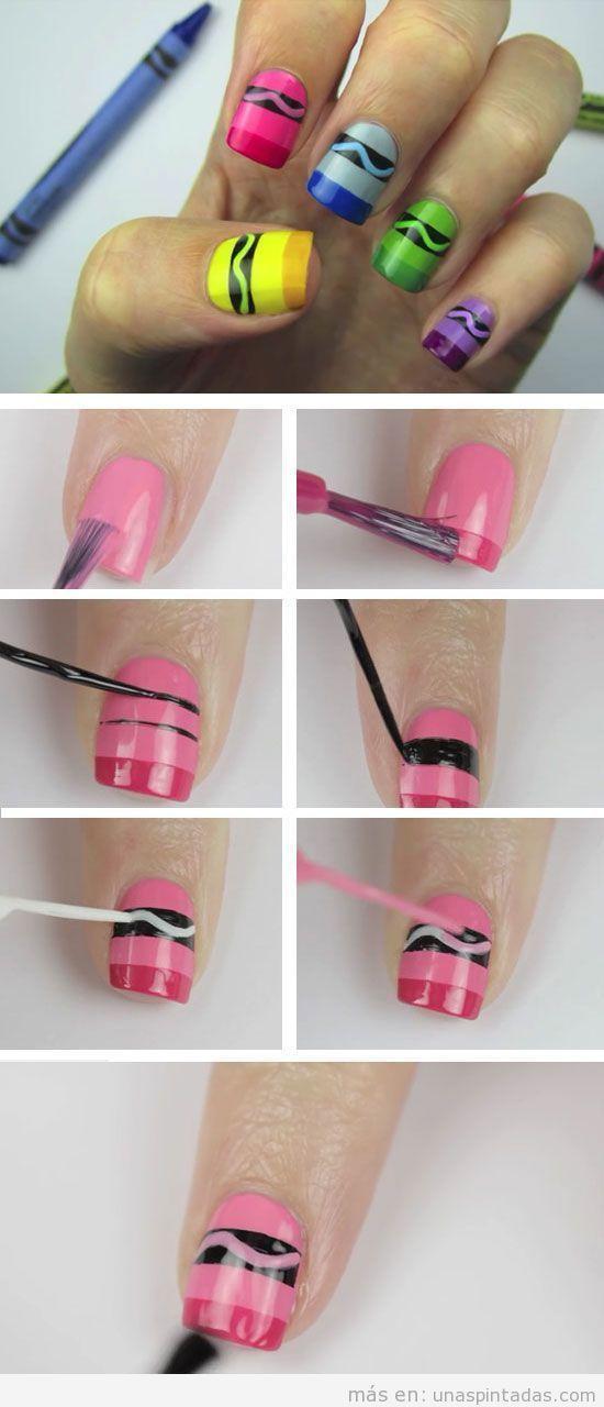 Tutorial para decorar las uñas como un crayon