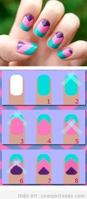 Dise o de u as f cil v de tres colores tutorial u as for Decoracion para unas facil