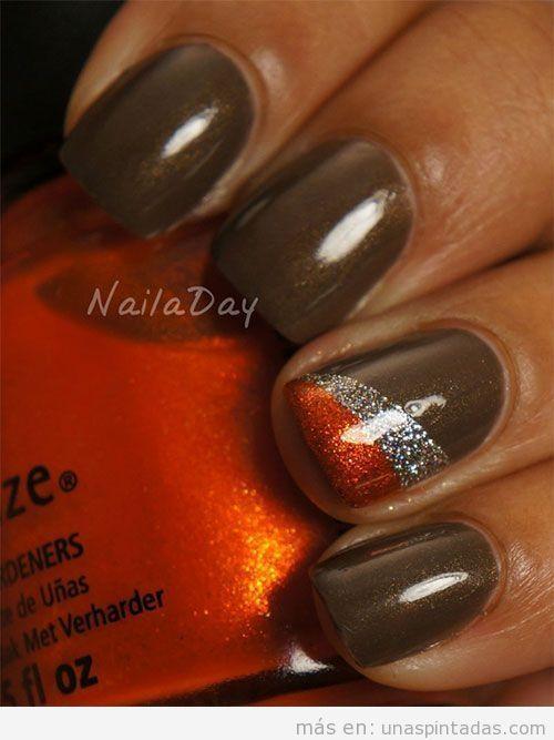 Decoración de uñas con colores otoñales y purpurina 5