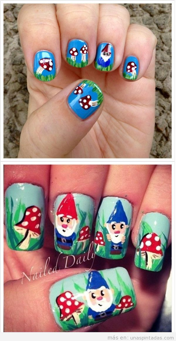 Uñas decoradas con gnomos