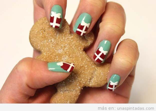 Decoraciones de uñas para Navidad 2016 dibujo regalo