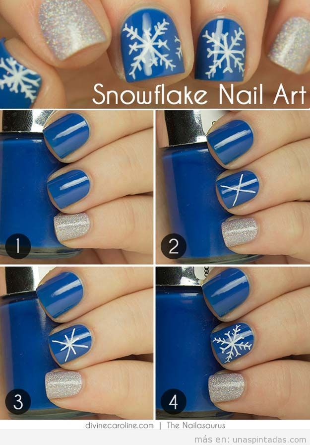 Ideas para pintar las uñas en Navidad 2015, copo de nieve