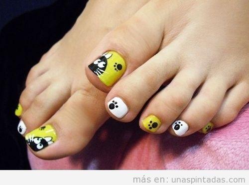Decoración uñas pies con dibujo fácil de gato