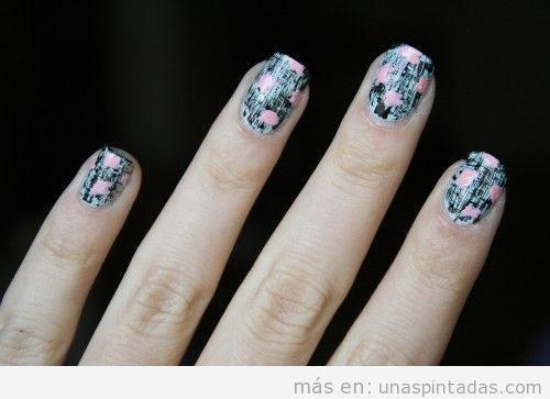 Tutorial diseño uñas primavera estampado moderno de flores paso 3