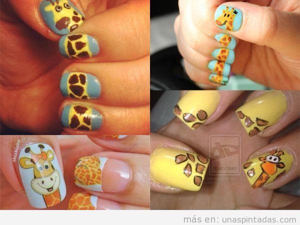 Dibujos de jirafas en las uñas