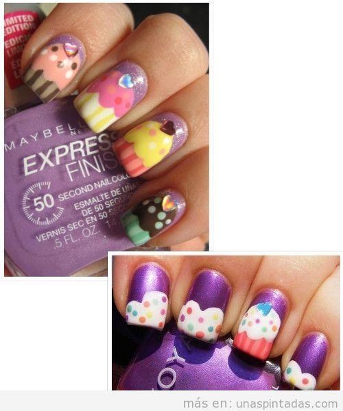 Cupcakes con purpurina en las uñas