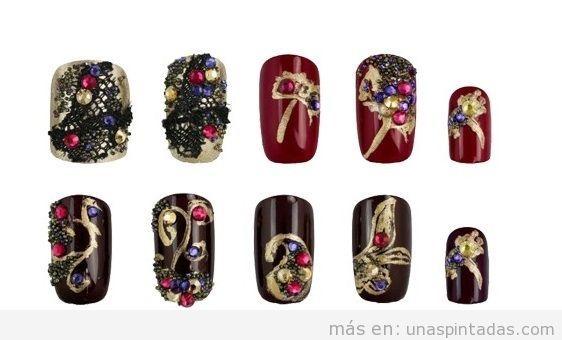 Decoración uñas cristales Swarovski en colores oscuros