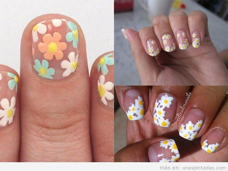 Decoración de uñas con dibujos de margaritas y fondo transparente