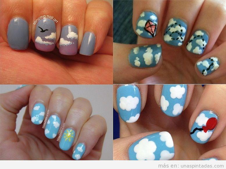 Decoraciones de uñas con dibujos de nubes, pájaros, globos y más