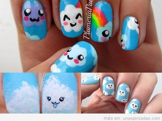 Decoraciones de uñas con dibujos de nubes kawaii