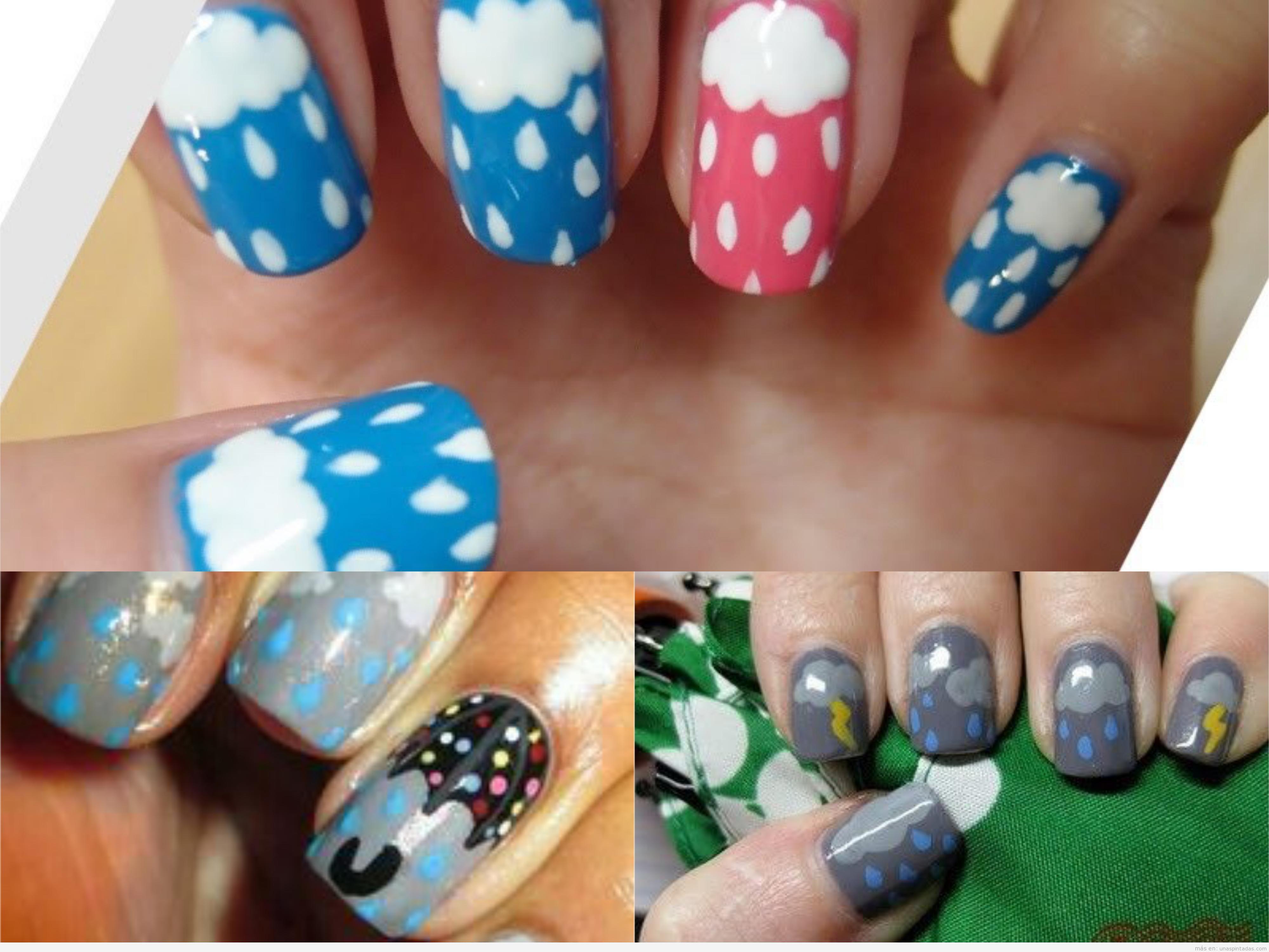 Decoraciones de uñas con nubes y gotas de lluvia