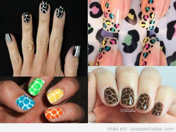 Uñas animal print jirafa de colores
