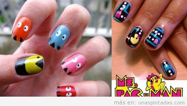 Uñas pintadas con Pac-Man y Ms. Pac-Man
