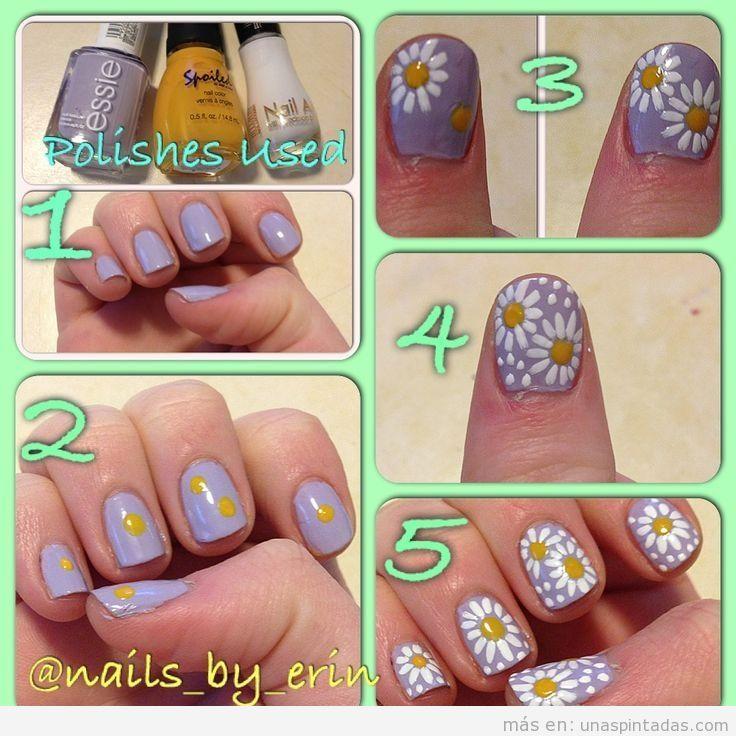 Tutorial para aprender a dibujar margaritas en las uñas 2
