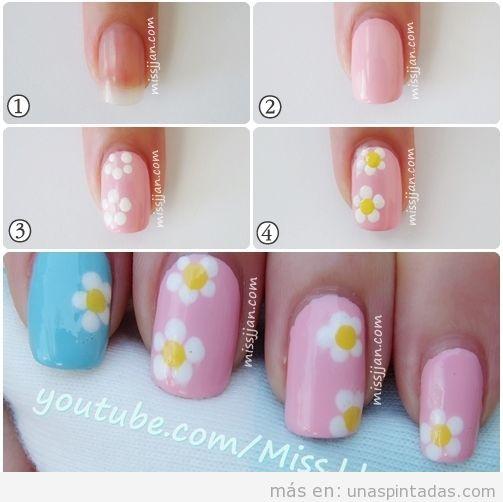 Tutorial para aprender a dibujar margaritas en las uñas