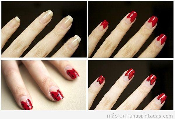 Decoración de uñas sofisticadas en rojo tutorial paso a paso