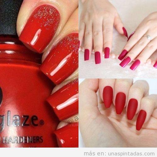 Uñas acrílicas pintadas de rojo