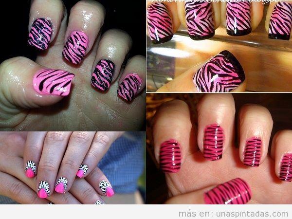 Uñas decoradas con animal print de cebra sobre rosa