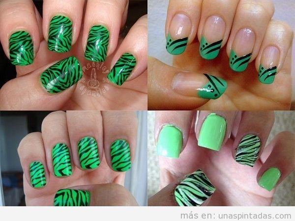 Uñas en verde con estampado de cebra