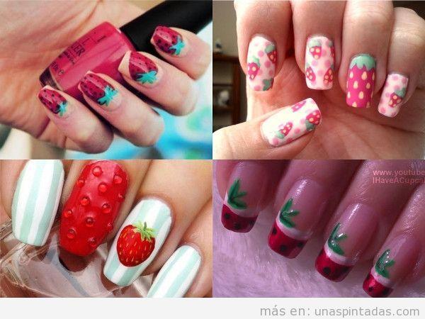 Uñas cuadradas con decoración de fresas
