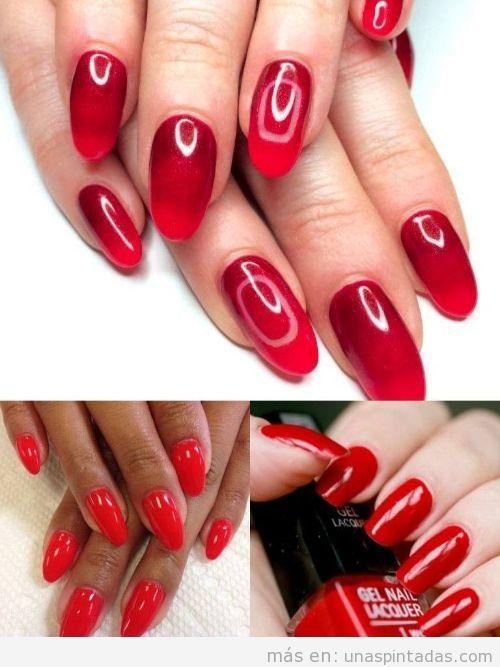 Uñas de gel pintadas de rojo