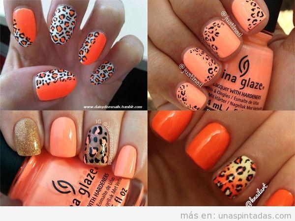 Uñas pintadas como leopardo naranjas