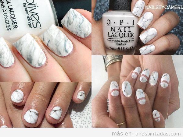 Uñas de mármol blancas